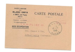 DOCUMENT Commercial CARTE POSTALE 1949..Société Anonyme Du BLANC OMYA à OMEY Par POGNY ( Marne 51) - Francia