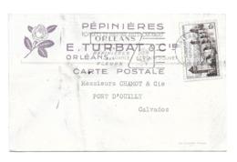 DOCUMENT Commercial CARTE POSTALE 1956..Pépinières TURBAT & Cie à ORLEANS (45) - Francia