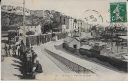 SETE : Vue Sur Les Quais Bien Animés ( Tramway ,  Filets De Pêcheurs (1910 ) - Sete (Cette)