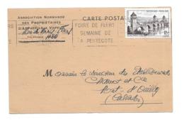 DOCUMENT Commercial CARTE POSTALE 1956..Asso. Normande Des Propriétaires D'Appareils à Vapeur, Rue De Paris à FLERS (61) - Francia