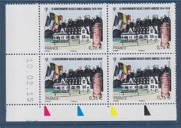 = Le Gouvernement Belge à Sainte Adresse 1914-1918 à 0.76€ Coin De Feuille Daté 10.02.15 Neuf N°4933 - Ecken (Datum)