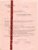 Brief Uitnodiging St Ceciliavrienden Lotenhulle - Programma Viering 1957 - Non Classés