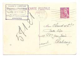 DOCUMENT Commercial CARTE POSTALE 1939..Cuirs Et Crépins, Georges PATRIE, Rue Plantagenrt à ANGERS ( Maine Et Loire 49) - Frankrijk