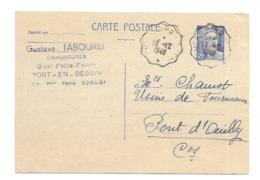 DOCUMENT Commercial CARTE POSTALE 1949..Chaussures, Gustave TABOURET Quai Felix Faure à PORT En BESSIN ( Calvados 14) - Francia