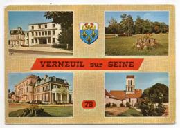 VERNEUIL SUR SEINE --1973--Multivues (mairie,parc,école,église)--blason -- ...timbre ...cachet - Verneuil Sur Seine