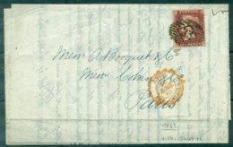 GB N°14 S/lat Oblit Cachet 33 +cachet Rouge Angl.amb Calais Du 26 Avril 1863 . - 1840-1901 (Regina Victoria)