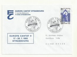 LETTRE CACHET  EUROPA CANTAT 9 STRASBOURG 20/21 07/1985 - Cachets Commémoratifs
