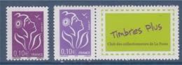 = Marianne De Lamouche ITVF 0.10€ Violet Rouge  2 Types  3732 Et Le 3916A Personnalisé Neufs Gommés - 2004-08 Marianne (Lamouche)