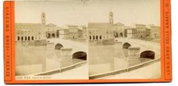 Photos Stéréoscopiques - Italie - Pise -  Ponte Di  Mezzo  Sur L' Arno N° 3390  -  C 52 - Stereoscopio