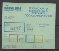 Hungarian Airlines, Malév, Boarding Pass, '70s. - Europe