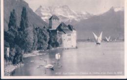 POSTAL SUIZA - LAC LEMAN - CHATEAU DE CHILLON ET LES DENTS DU MIDI - 4110 - EDITION JAEGER - GE Genève