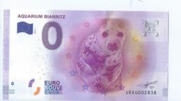 2016 BILLET TOURISTIQUE 0 Euro   Aquarium Biarritz    Dpt 64  Port 1.30   Epuise - EURO