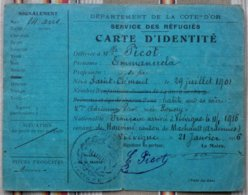 21 VIEVIGNE Carte D'Identite SERVICE DES REFUGIES 08 Hauvine 54 Saint Clement 1916 Tampon Mairie - Documenti Storici