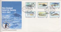 Polaire Néozélandais, N° 15 à 20 (25° Ann. De La Base Scott) Obl. Scott-Base Le 2 NOV 83 Sur FDC - FDC