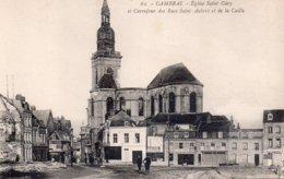 CPA, Cambrai, Eglise Saint Géry, Et Carrefour Des Rues Saint-Aubert Et De La Caille, Animée - Cambrai