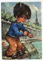 Illustrateur  Michel THOMAS --1968-- Poulbot -- Le Pêcheur (Tour Eiffel) - Thomas
