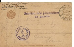 Guerre 14 18 Sur Carte Russe CAD MOCKER Griffe SERVICE DES PRISONNIERS DE GUERRE + Cachet Bleu N° 189 De 1916 .G - Marcophilie (Lettres)
