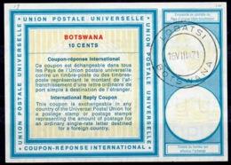 BOTSWANA Vi19 10 CENTS InternationalReply Coupon Reponse Antwortschein IAS IRC O LOBATSI 16.8.71 - Botswana (1966-...)