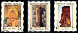 POLYNESIE 1983 - Yv. 195 196 Et 197 **   Cote= 2,20 EUR - Sculptures Religieuses (3 Val.)  ..Réf.POL24497 - Ungebraucht