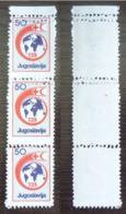 Yougoslavie  Nobel Red Cross Croix Rouge  Double Perforation Horizontale Bande De 3  MNH - Nobel Prize Laureates
