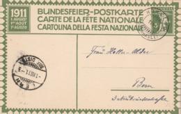 Suisse Entier Postal Illustré Carte Fête Nationale 1911 - Cachet Hohfluh 1/8/1911 Pour Bern - Postwaardestukken