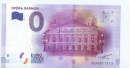 2016 BILLET TOURISTIQUE 0 Euro   Opera Garnier   Dpt 75  Port 1.50    Numero Aleatoire - Private Proofs / Unofficial
