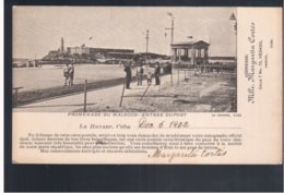 CUBA Habana - Promenade Du Malecon - Entrée Du Port 1902 Old Postcard - Cuba
