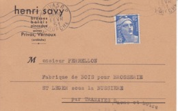 Henri Savy Brossses Balais Pinceaux Privas Vernoux Ardèche Adressée à M Perrellon St Leger Sous La Bussiere - Chemist's (drugstore) & Perfumery