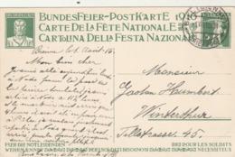 Suisse Entier Postal Illustré Carte Fête Nationale 1916 Pour Les Soldats Nécessiteux Cachet Bienne 1/8/1916 - Stamped Stationery