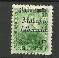 MALAGA 1937 SELLOS REPUBLICANOS Nº 10 * MLH - Republican Issues