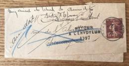 France Semeuse 15c Bande Journal, Retour à L'envoyeur 1397 + Parti Sans Laisser D'adresse - (B1449) - Postmark Collection (Covers)