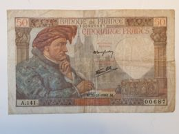 Ancien Billet  50 Francs - A.141 - 00687 - 20.11.1941  - Enchères - 1871-1952 Anciens Francs Circulés Au XXème