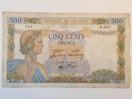 Ancien Billet  500 Francs - LA PAIX -  1941 - M.2057- 762  - Enchères - 1871-1952 Anciens Francs Circulés Au XXème