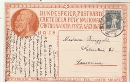 Suisse Entier Postal Illustré Carte Fête Nationale 1918 Pour Nos Soldats Cachet Rossiniére 1/8/1918  Illustration 2 - Interi Postali