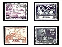 Singapore 23-26 MNH 1949 UPU 75th Anniversary - Singapur (1959-...)