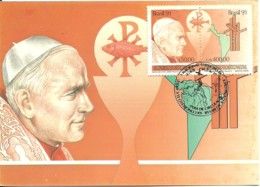 Carte Souvenir - Brasil - Visita De Papa João Paulo II - Cartoline Maximum