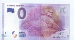2016 BILLET TOURISTIQUE 0 Euro   Lion De Belfort   Dpt 90  Port 1.30   Epuise - EURO