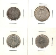 Romania, Lot Of 4 Silver Coins - 1 Leu, 2 Lei 1910, 1912, 1914 - KM# 42, 43 - Roemenië