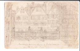Kriegsgefangenenlager Landau Pfalz Palatinat. De P. Drion à Melle M. L. Moutier à Lisieux. Dessin De Rote Caserne. 1918. - Guerra 1914-18