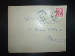 DEVANT TP M. DE MULLER 15F OBL. Tiretée 16-1 1956 CORBIERES BASSES ALPES (04) - Marcofilia (sobres)