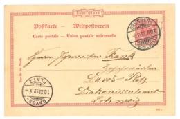 Ganzsache Grünberg, Schlesien 1892 Nach Davos-Platz, Schweiz - Deutschland