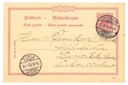 Ganzsache Grünberg, Schlesien 1893 Nach Davos-Platz, Schweiz - Deutschland