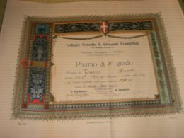 DIPLOMA COLLEGIO CONVITTO S.GIOVANNI EVANGELISTA PREMIO DI III GRADO 1934-35 - Diplomi E Pagelle