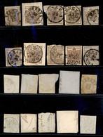 Antichi Stati Italiani - Lombardo Veneto - 1850 - 30 Cent (7) - 10 Diversi Usati (3 Su Frammenti) - Colori Diversi - Ins - Francobolli