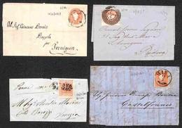 Antichi Stati Italiani - Lombardo Veneto - 1853/1863 - Piccolo Insieme Di 4 Letterine Con Affrancature E Annullamenti Di - Francobolli