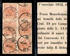 Antichi Stati Italiani - Lombardo Veneto - 15 Cent (20) - Blocco Di Sei Applicato Su Frammento - Piega Orizzontale Sulla - Francobolli