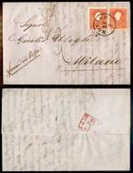 Antichi Stati Italiani - Lombardo Veneto - Lettera Da Rovigo A Milano Del 23.2.60 Con Due 5 Soldi (30) - Ferma In Posta  - Stamps