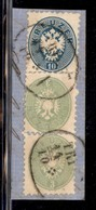 Antichi Stati Italiani - Territori Italiani D'Austria - Triest - Due 3 Kreuzer (28) + 10 Kreuzer (30) Su Frammento - Stamps