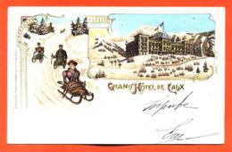 """CPA Suisse """" Grand Hotel De Caux """" Carte Precurseur   - Luges - VD Vaud"""