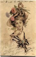 Cpa Fantaisie Femme Illustration Carte Précurseur - Femmes